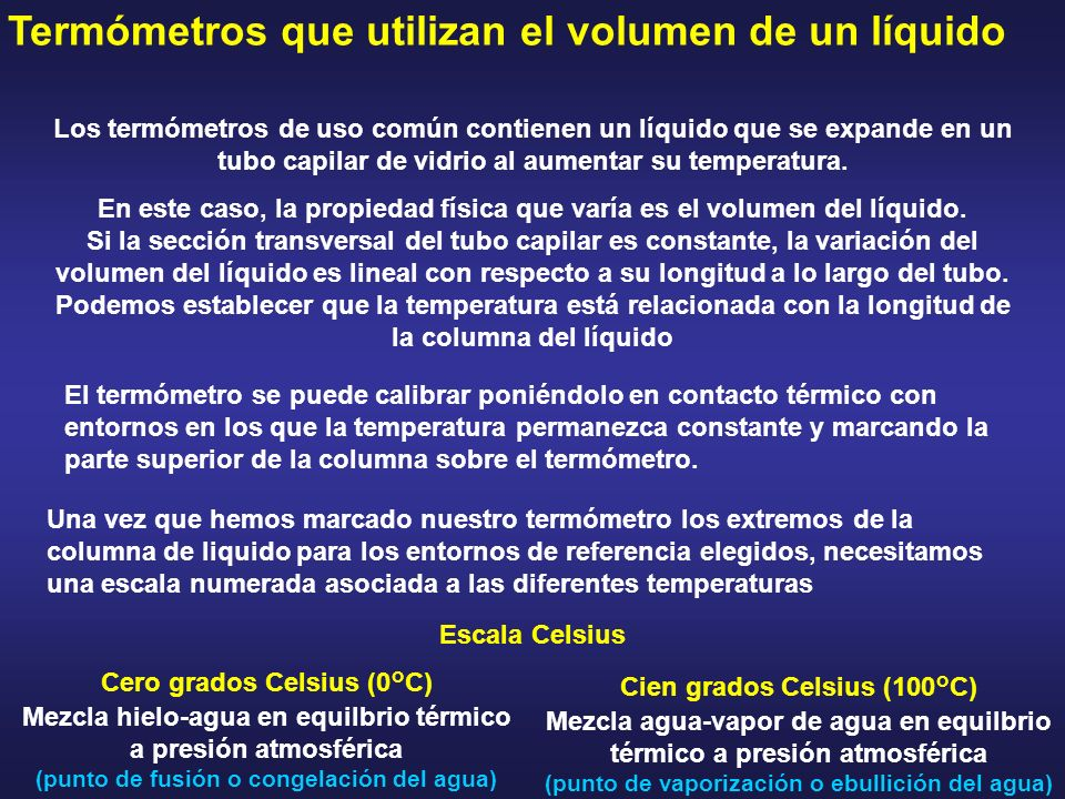 Termómetros que utilizan el volumen de un líquido