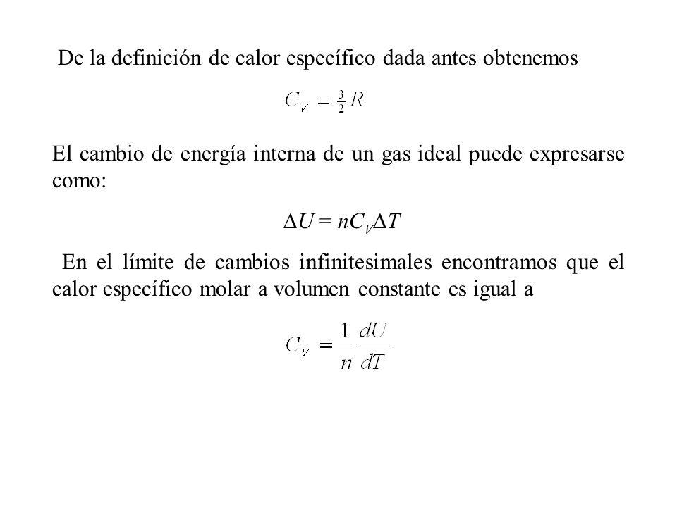 De la definición de calor específico dada antes obtenemos