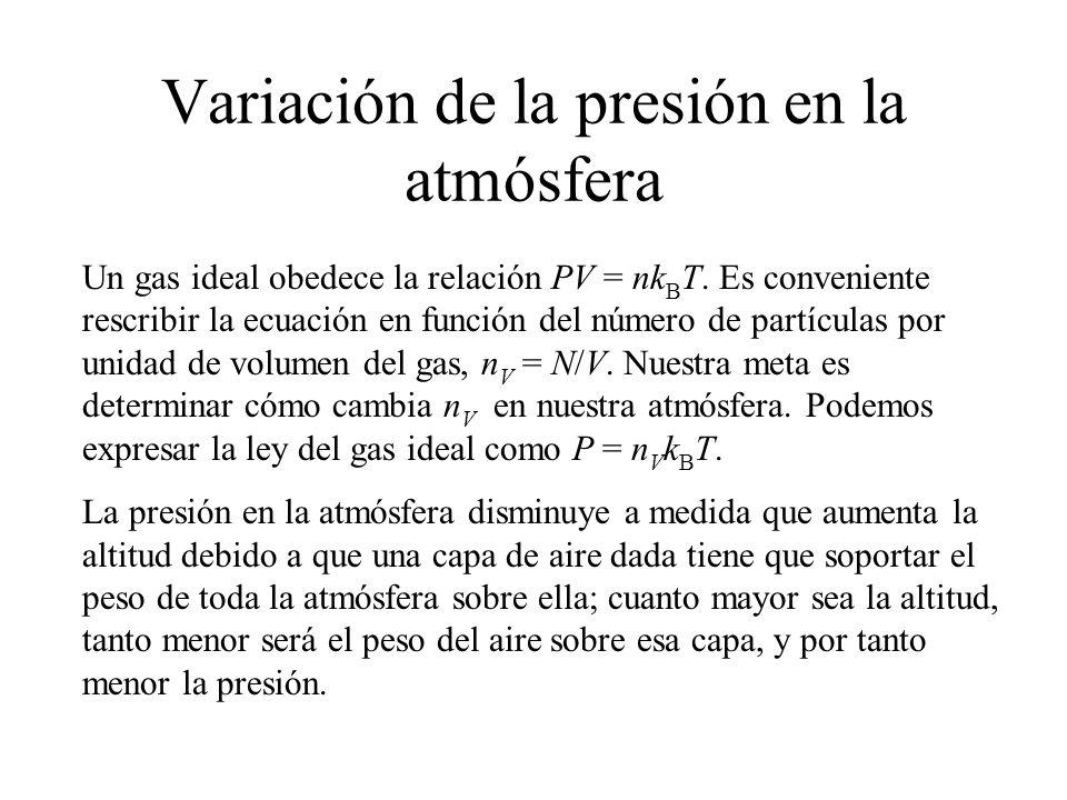 Variación de la presión en la atmósfera
