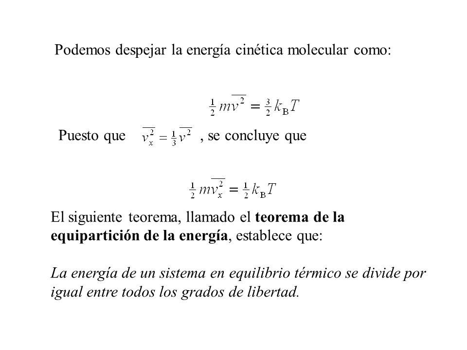 Podemos despejar la energía cinética molecular como: