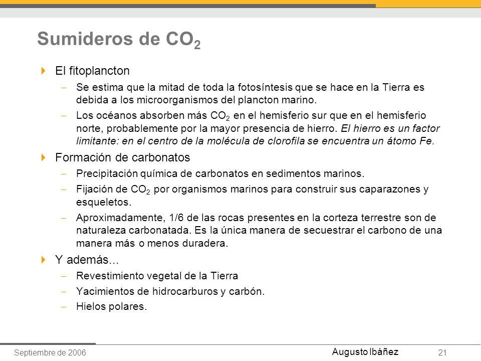Sumideros de CO2 El fitoplancton Formación de carbonatos Y además...