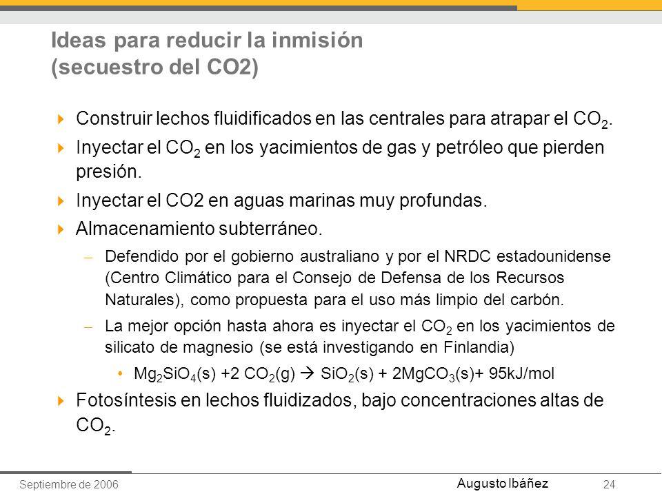 Ideas para reducir la inmisión (secuestro del CO2)