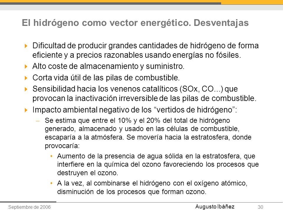 El hidrógeno como vector energético. Desventajas
