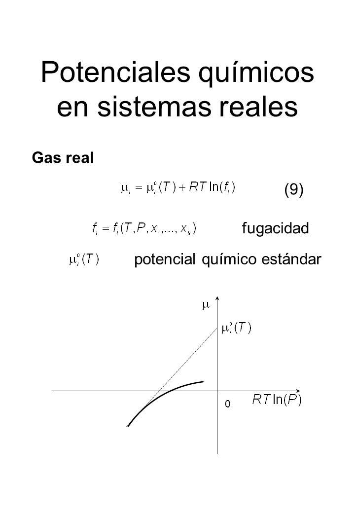 Potenciales químicos en sistemas reales