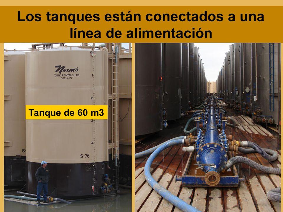 Los tanques están conectados a una línea de alimentación