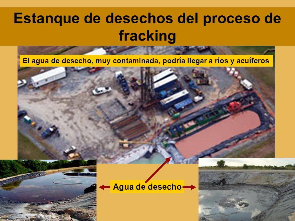 Estanque de desechos del proceso de fracking