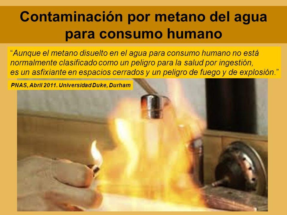 Contaminación por metano del agua para consumo humano