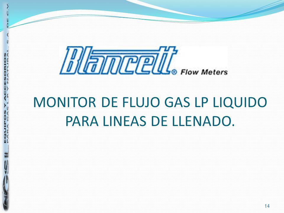 MONITOR DE FLUJO GAS LP LIQUIDO PARA LINEAS DE LLENADO.