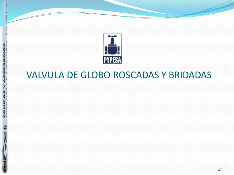 VALVULA DE GLOBO ROSCADAS Y BRIDADAS