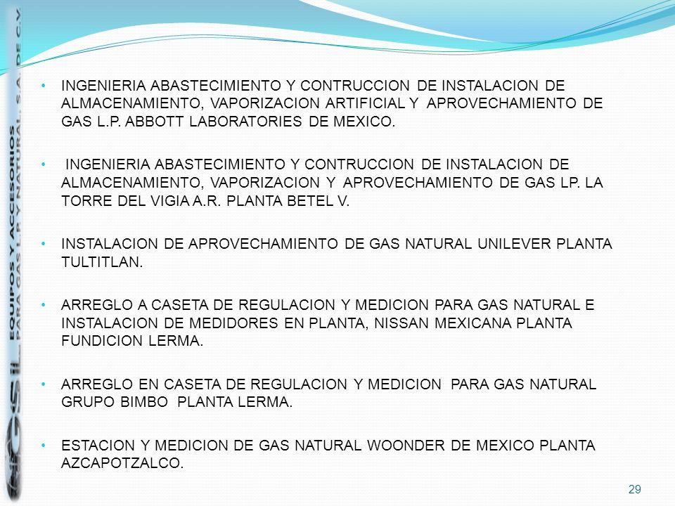 INGENIERIA ABASTECIMIENTO Y CONTRUCCION DE INSTALACION DE ALMACENAMIENTO, VAPORIZACION ARTIFICIAL Y APROVECHAMIENTO DE GAS L.P. ABBOTT LABORATORIES DE MEXICO.