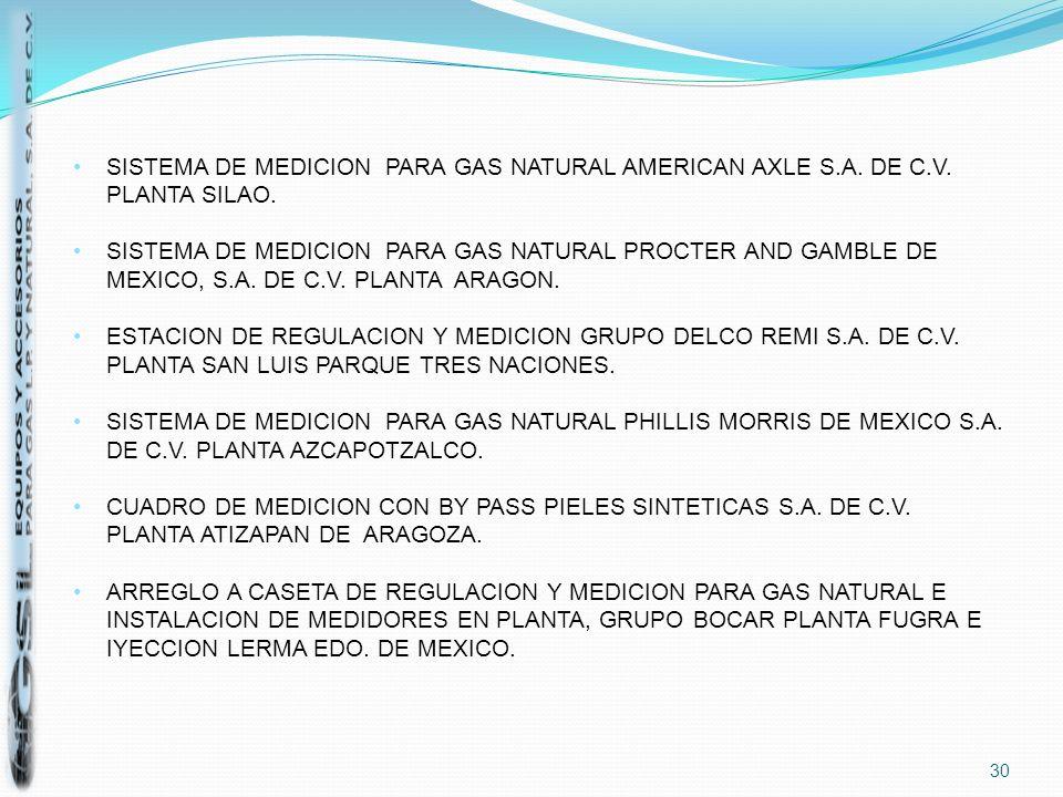 SISTEMA DE MEDICION PARA GAS NATURAL AMERICAN AXLE S.A. DE C.V. PLANTA SILAO.