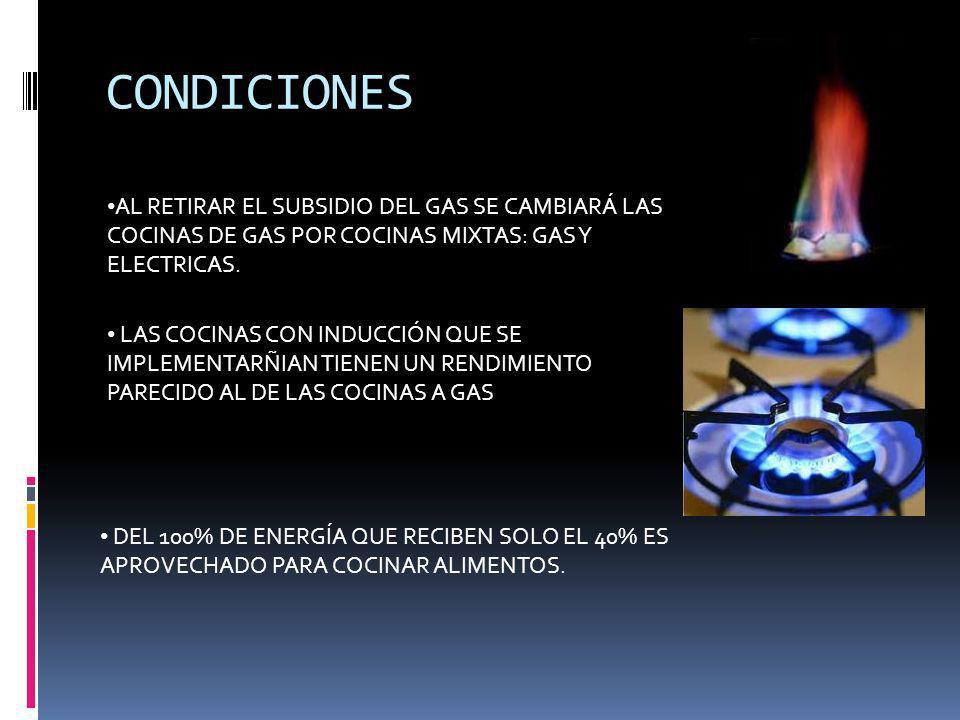 CONDICIONES AL RETIRAR EL SUBSIDIO DEL GAS SE CAMBIARÁ LAS COCINAS DE GAS POR COCINAS MIXTAS: GAS Y ELECTRICAS.