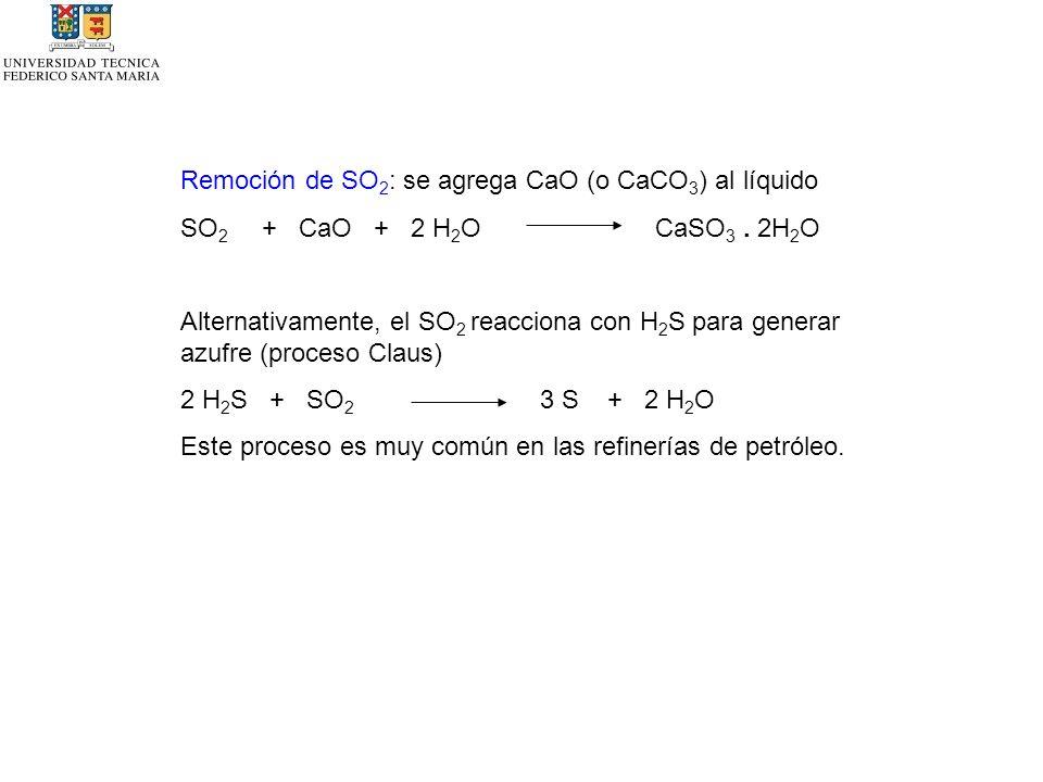 Remoción de SO2: se agrega CaO (o CaCO3) al líquido