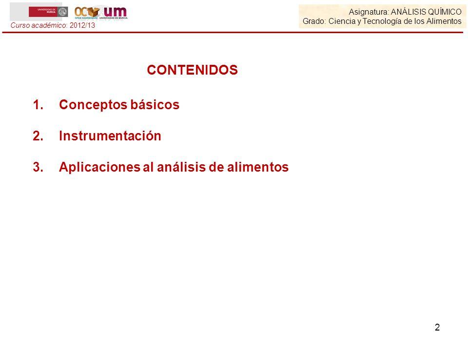CONTENIDOS Conceptos básicos Instrumentación