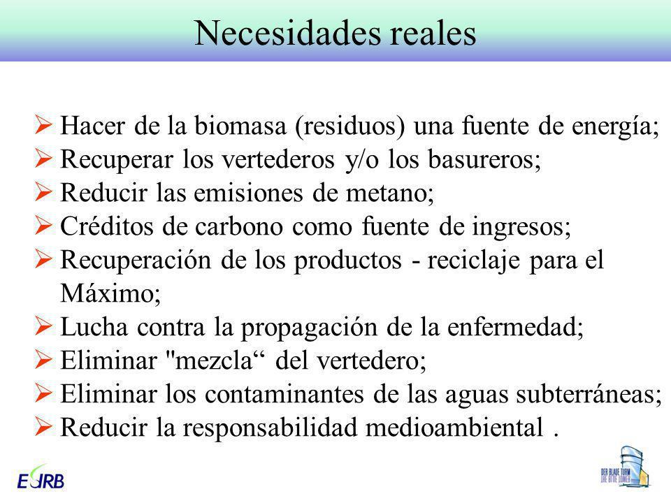 Necesidades reales Hacer de la biomasa (residuos) una fuente de energía; Recuperar los vertederos y/o los basureros;