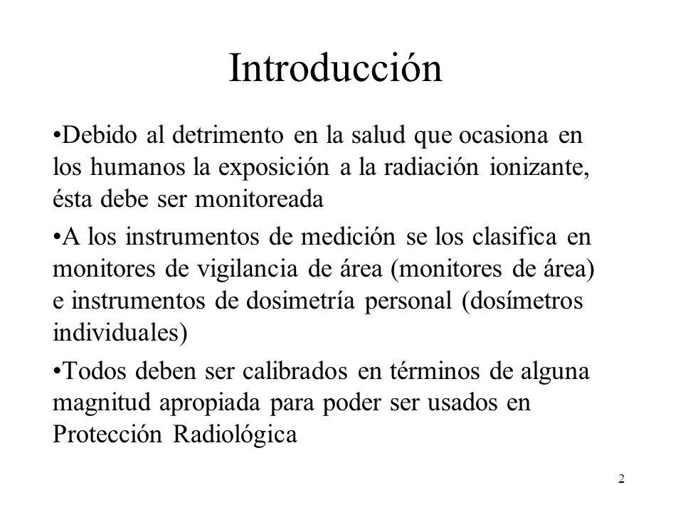 Introducción Debido al detrimento en la salud que ocasiona en los humanos la exposición a la radiación ionizante, ésta debe ser monitoreada.