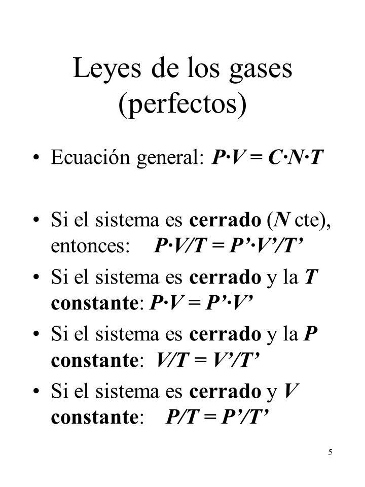 Leyes de los gases (perfectos)