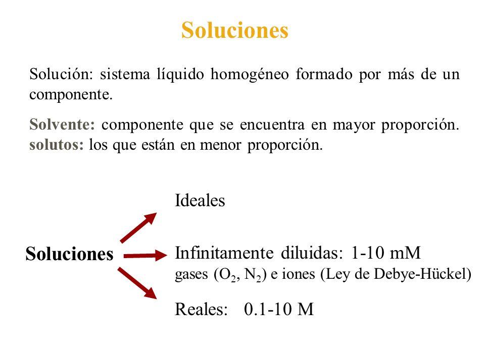 Soluciones Soluciones Ideales Infinitamente diluidas: 1-10 mM