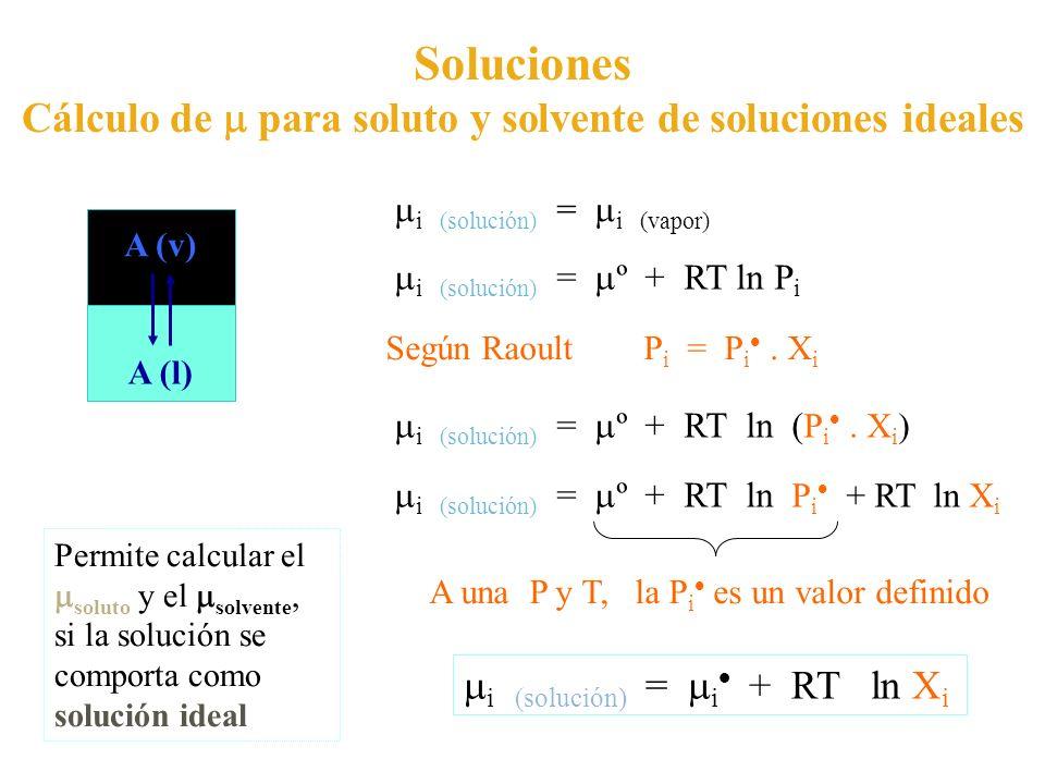 Cálculo de  para soluto y solvente de soluciones ideales