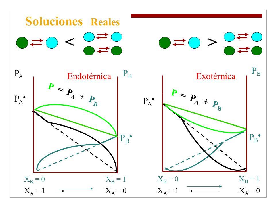 < > Soluciones Reales PB PB PA PB PA P = PA + PB Endotérnica