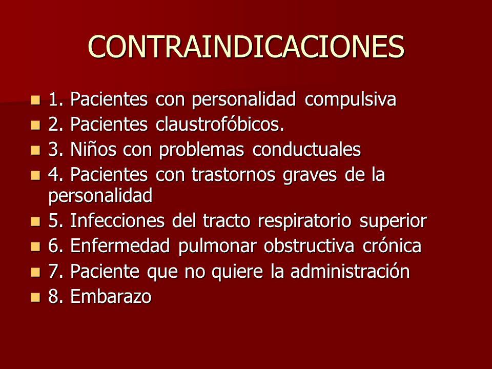 CONTRAINDICACIONES 1. Pacientes con personalidad compulsiva