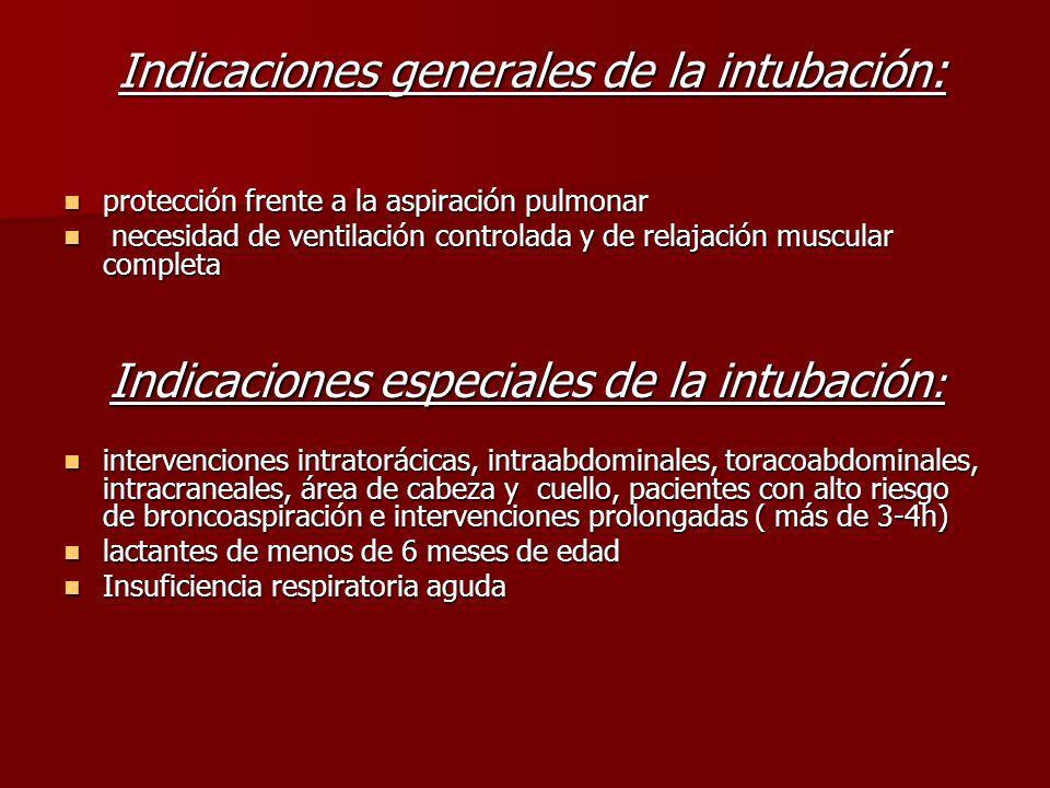 Indicaciones generales de la intubación: