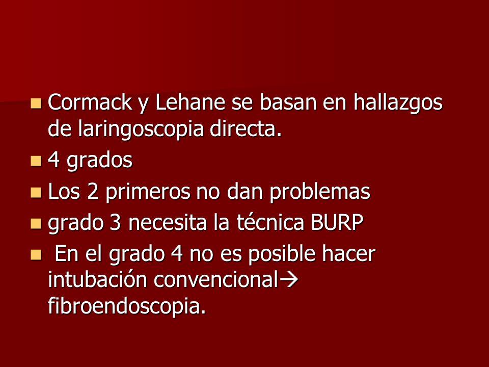 Cormack y Lehane se basan en hallazgos de laringoscopia directa.