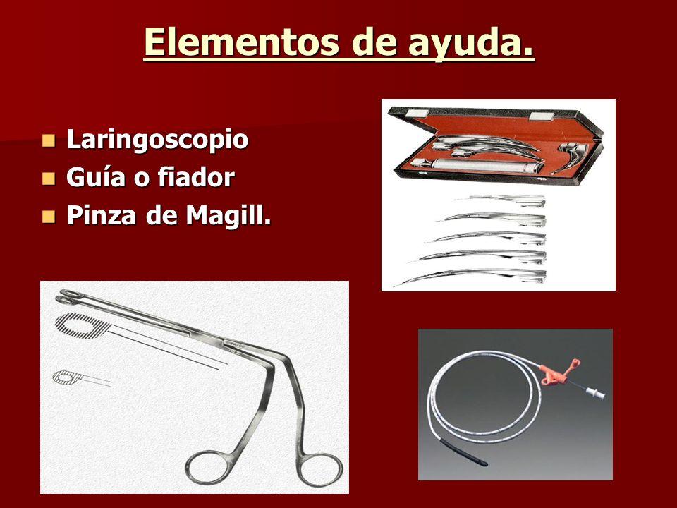 Elementos de ayuda. Laringoscopio Guía o fiador Pinza de Magill.