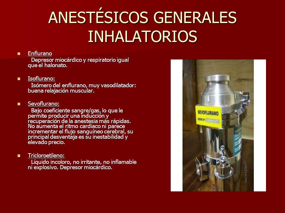ANESTÉSICOS GENERALES INHALATORIOS