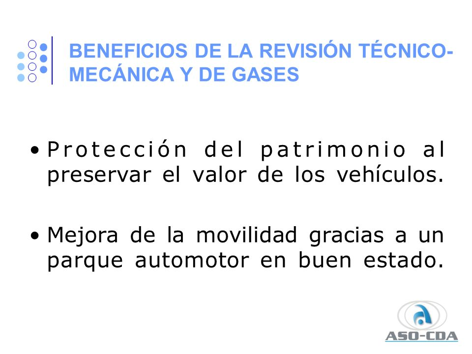 BENEFICIOS DE LA REVISIÓN TÉCNICO-MECÁNICA Y DE GASES