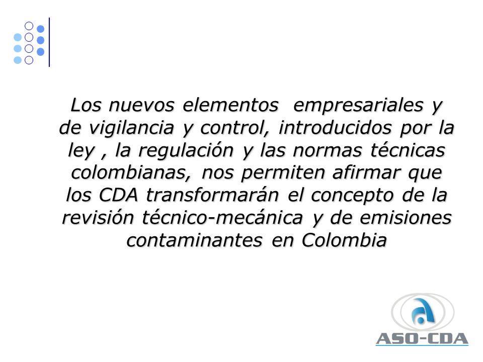 Los nuevos elementos empresariales y de vigilancia y control, introducidos por la ley , la regulación y las normas técnicas colombianas, nos permiten afirmar que los CDA transformarán el concepto de la revisión técnico-mecánica y de emisiones contaminantes en Colombia