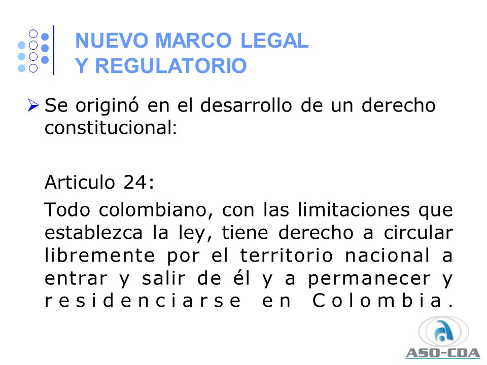 NUEVO MARCO LEGAL Y REGULATORIO