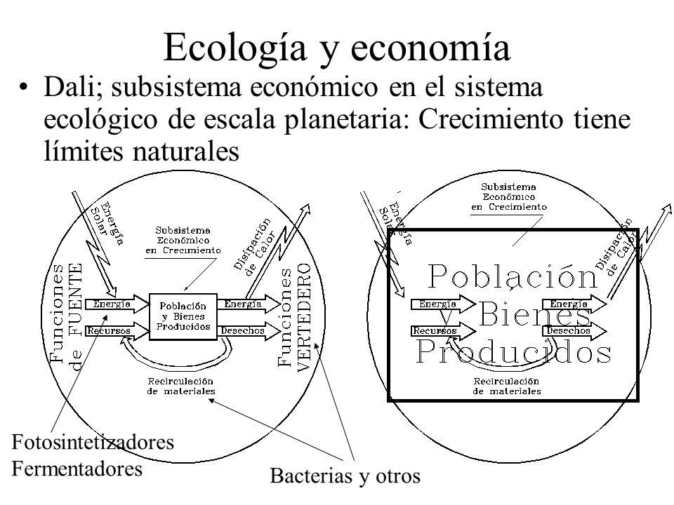 Ecología y economía Dali; subsistema económico en el sistema ecológico de escala planetaria: Crecimiento tiene límites naturales.