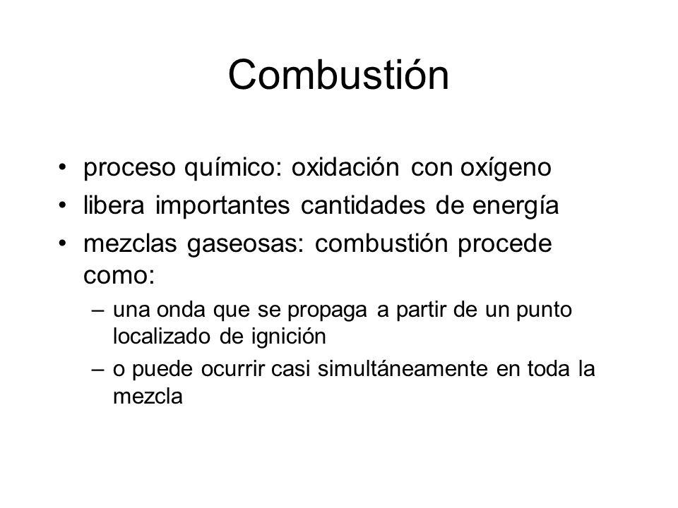 Combustión proceso químico: oxidación con oxígeno