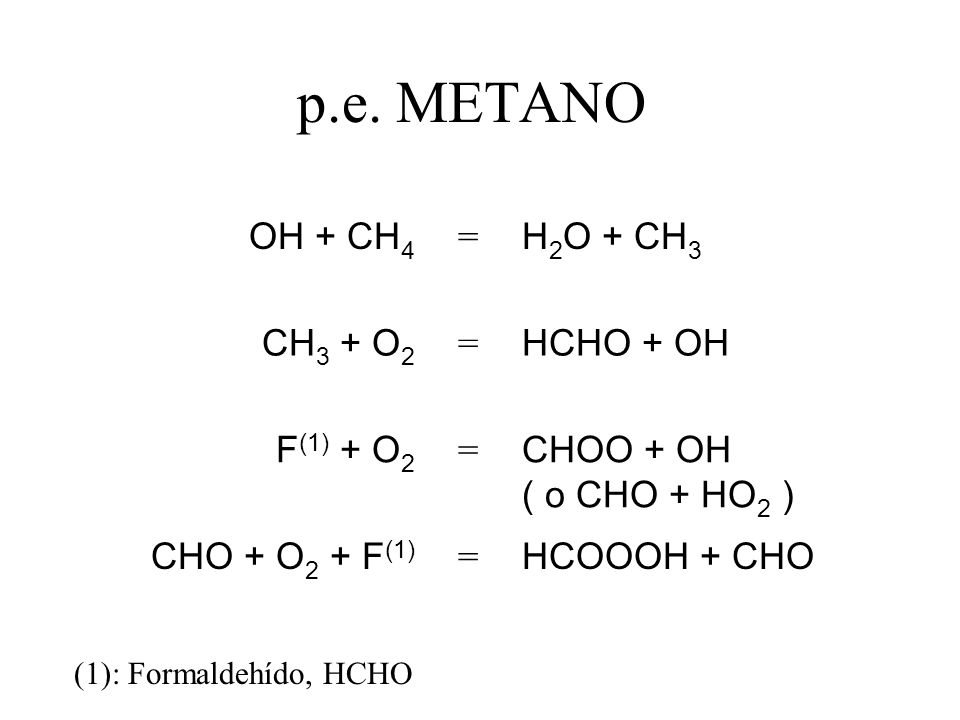 p.e. METANO OH + CH4 = H2O + CH3 CH3 + O2 HCHO + OH F(1) + O2