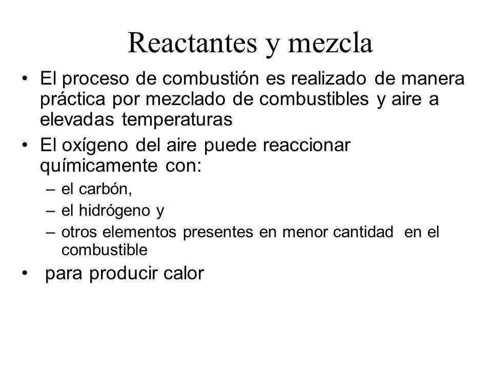 Reactantes y mezcla El proceso de combustión es realizado de manera práctica por mezclado de combustibles y aire a elevadas temperaturas.