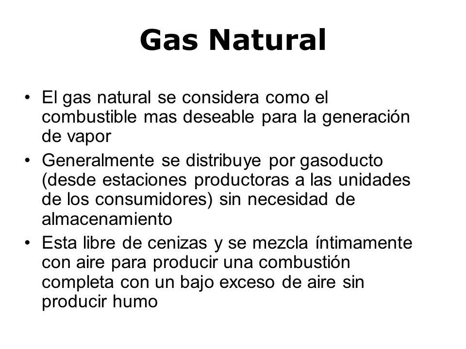 Gas Natural El gas natural se considera como el combustible mas deseable para la generación de vapor.