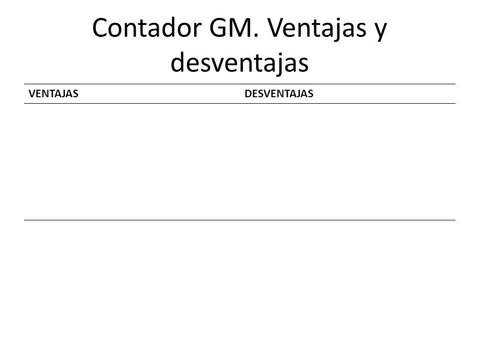 Contador GM. Ventajas y desventajas