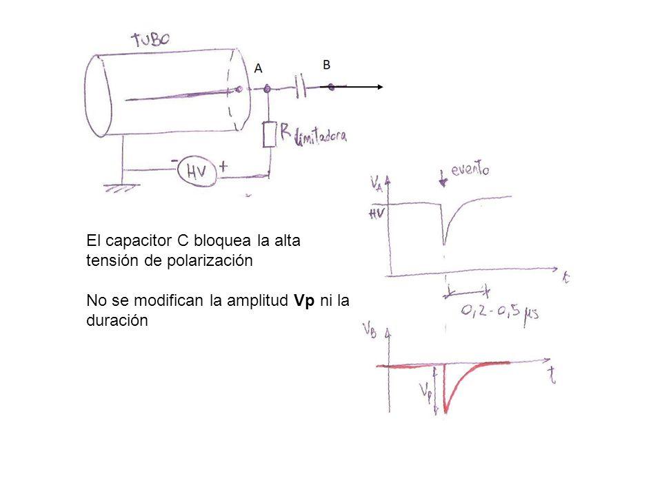El capacitor C bloquea la alta tensión de polarización