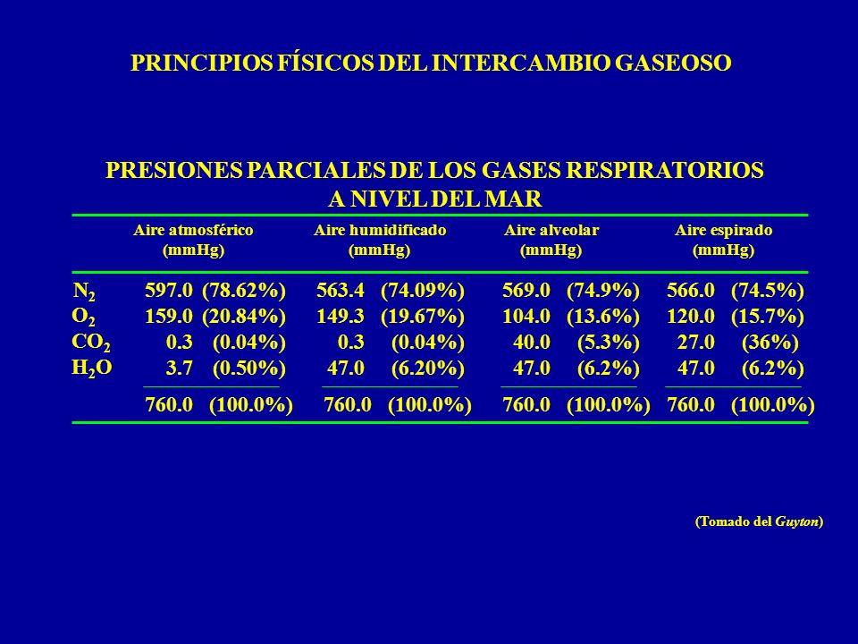 PRESIONES PARCIALES DE LOS GASES RESPIRATORIOS