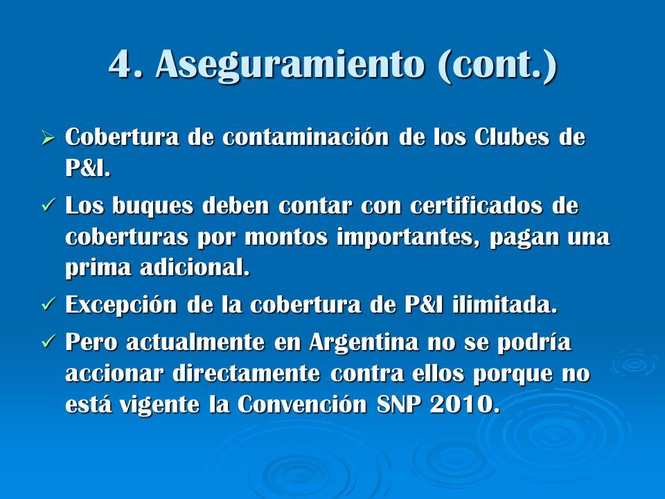 4. Aseguramiento (cont.) Cobertura de contaminación de los Clubes de P&I.