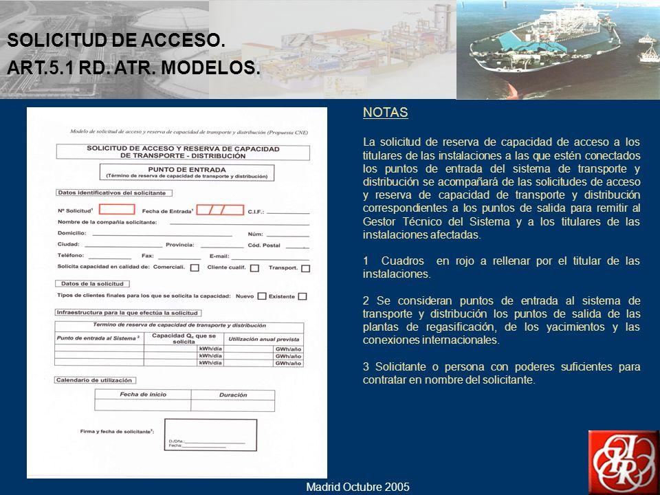 SOLICITUD DE ACCESO. ART.5.1 RD. ATR. MODELOS. NOTAS