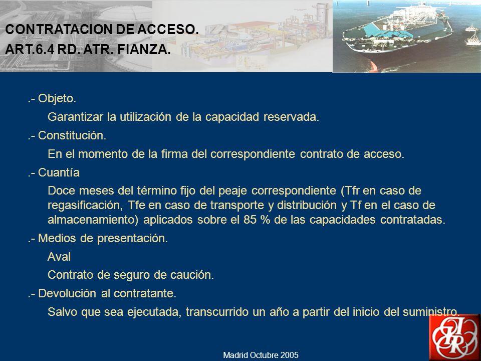 CONTRATACION DE ACCESO. ART.6.4 RD. ATR. FIANZA.