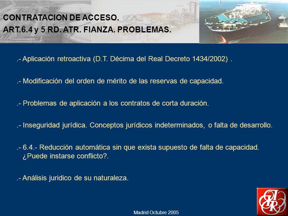CONTRATACION DE ACCESO. ART.6.4 y 5 RD. ATR. FIANZA. PROBLEMAS.