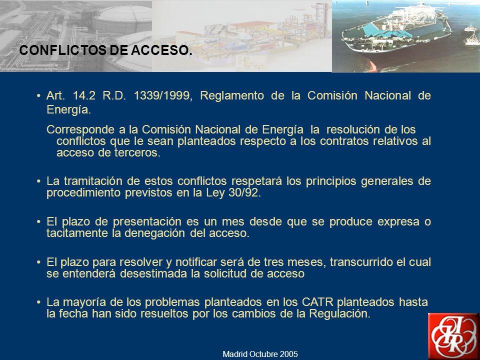 CONFLICTOS DE ACCESO. Art. 14.2 R.D. 1339/1999, Reglamento de la Comisión Nacional de Energía.