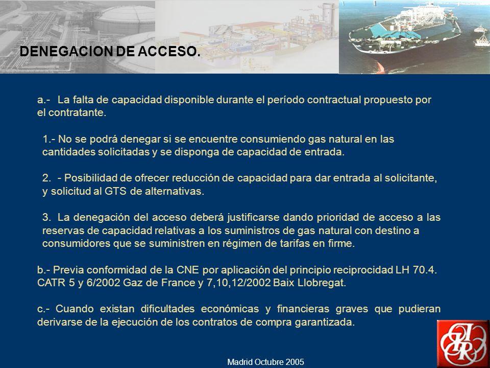 DENEGACION DE ACCESO. a.- La falta de capacidad disponible durante el período contractual propuesto por el contratante.