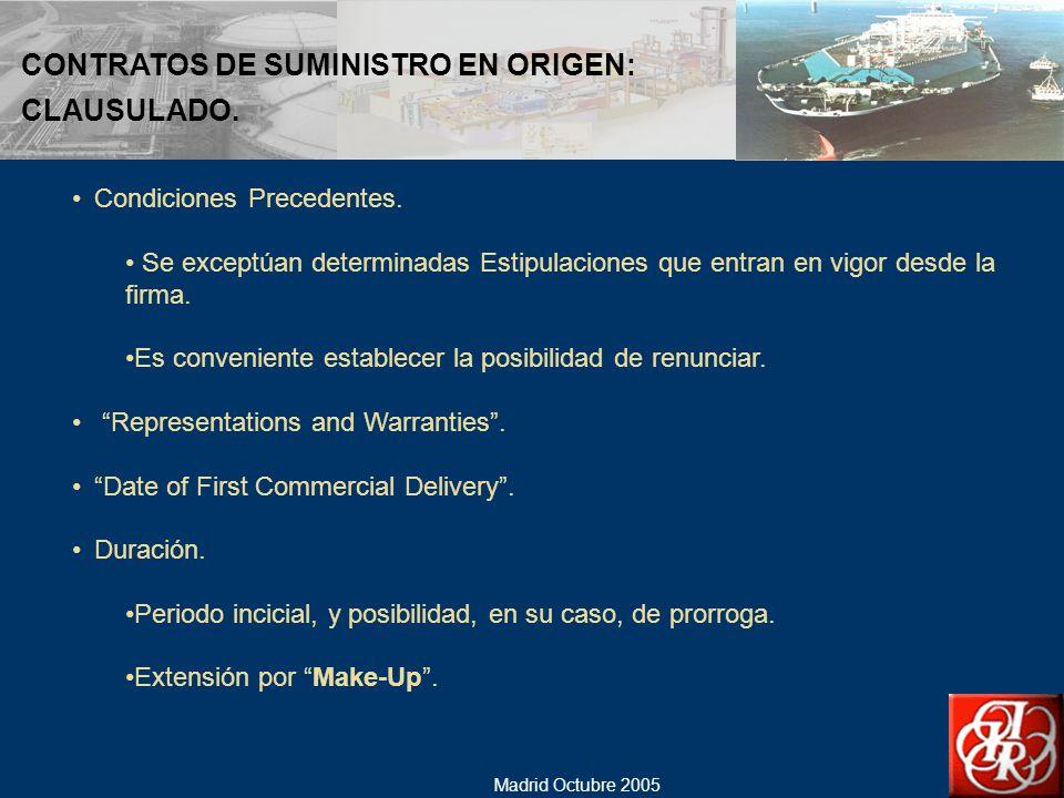CONTRATOS DE SUMINISTRO EN ORIGEN: CLAUSULADO.