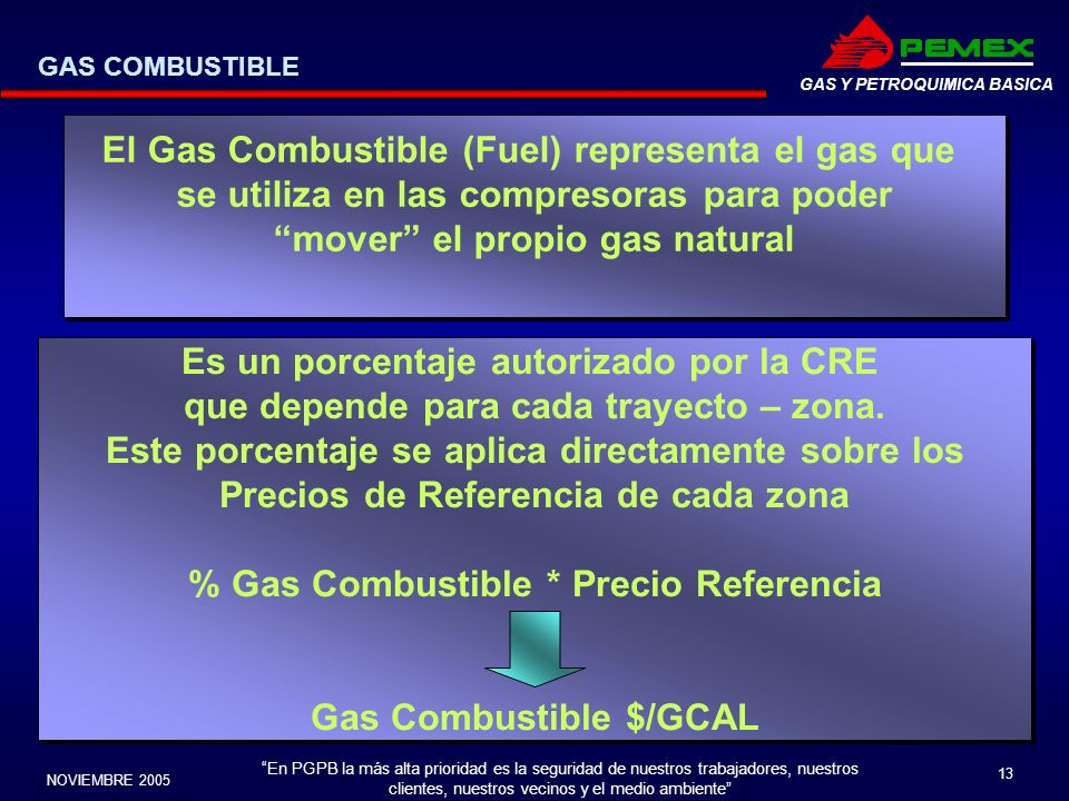 El Gas Combustible (Fuel) representa el gas que