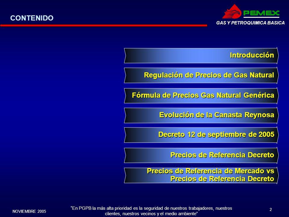 CONTENIDO Introducción. Regulación de Precios de Gas Natural. Fórmula de Precios Gas Natural Genérica.