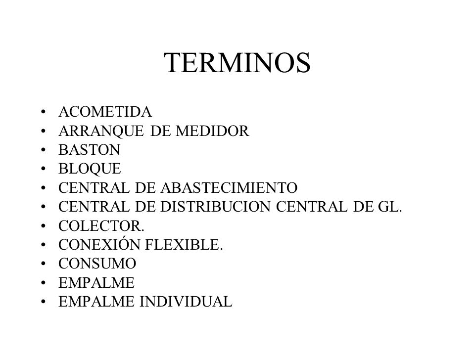 TERMINOS ACOMETIDA ARRANQUE DE MEDIDOR BASTON BLOQUE